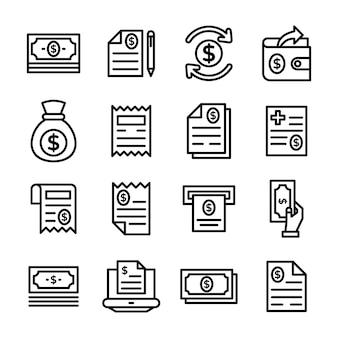 Paquete de tarifas y facturas en estilo de línea