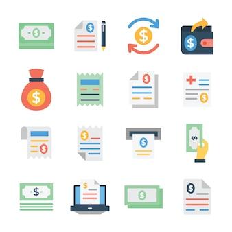 Paquete de tarifas y facturas en estilo plano