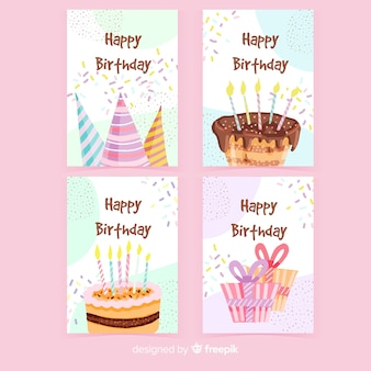 Paquete de tarjeta de cumpleaños dibujado a mano