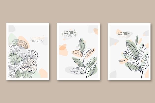 Paquete de tarjeta floral grabado dibujado a mano