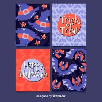 Paquete de tarjeta de halloween dibujado a mano