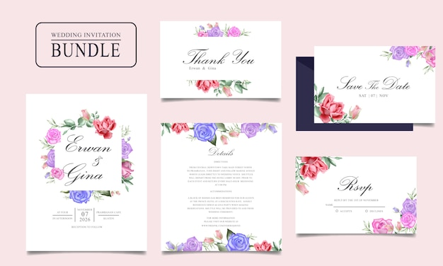 Paquete de tarjeta de invitación de boda con acuarela floral y plantilla de hojas