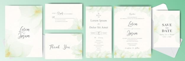 Paquete de tarjeta de invitación de boda editable con flor verde