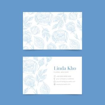 Paquete de tarjeta de visita de plantilla floral realista dibujado a mano