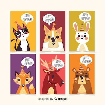 Paquete tarjetas año nuevo animales dibujados a mano