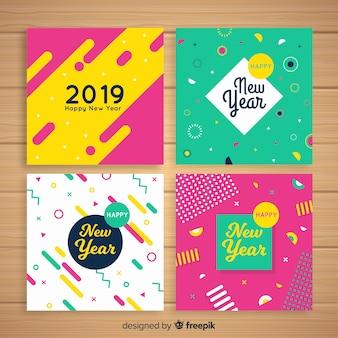 Paquete tarjetas año nuevo coloridas
