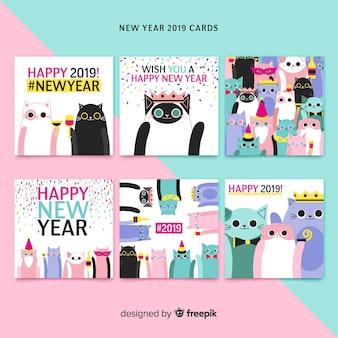 Paquete tarjetas año nuevo gatos dibujados a mano