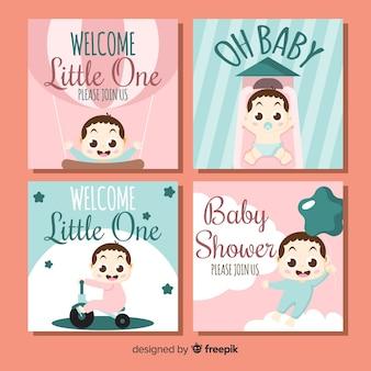 Paquete tarjetas baby shower bebé niña