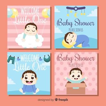 Paquete tarjetas baby shower bebé niño