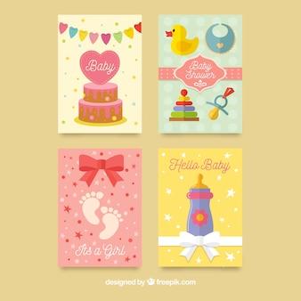 Paquete tarjetas baby shower coloridas