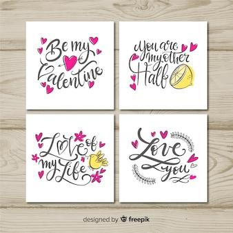 Paquete tarjetas día de san valentín lettering