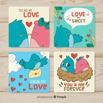 Paquete tarjetas día de san valentín pájaros dibujados a mano