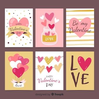 Paquete tarjetas dibujadas a mano san valentín