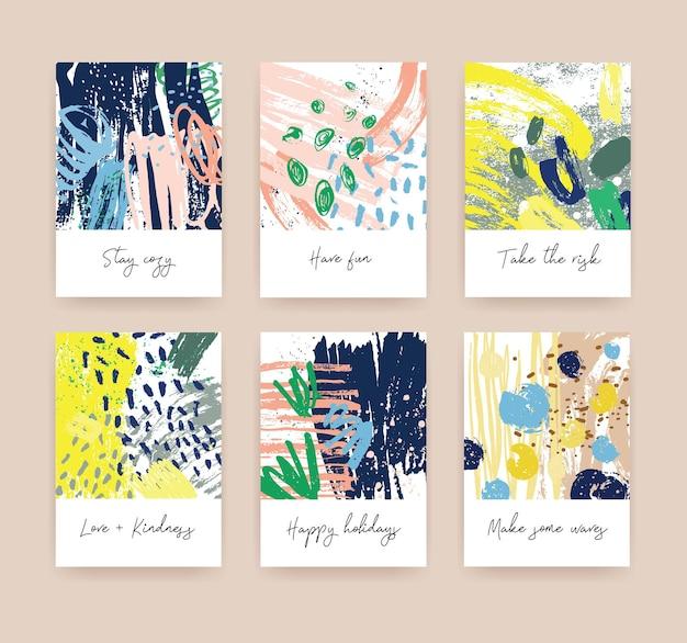 Paquete de tarjetas de felicitación o plantillas de tarjetas postales con deseos escritos a mano y texturas abstractas dibujadas a mano