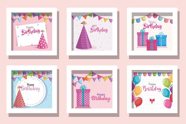 Paquete de tarjetas feliz cumpleaños y decoración