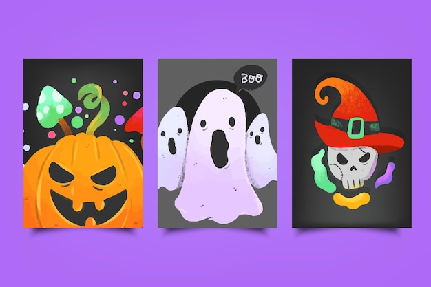 Paquete de tarjetas del festival de halloween