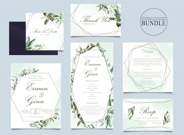 Paquete de tarjetas de invitación de boda con plantilla de hojas verdes