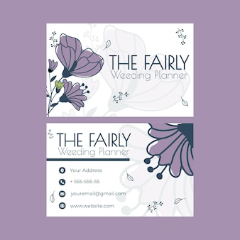 Paquete de tarjetas de visita de doble cara para bodas florales