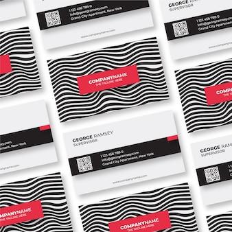 Paquete de tarjetas de visita con líneas distorsionadas