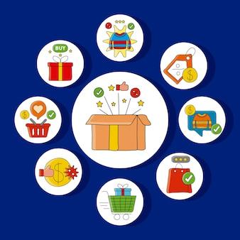 Paquete de tecnología de compras en línea establece iconos alrededor de la ilustración