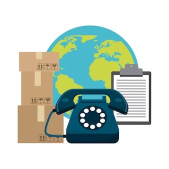 Paquete de teléfono planet y el icono de lista de verificación