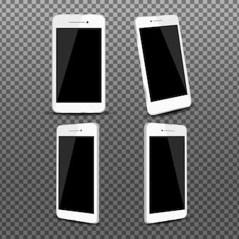 Paquete de teléfonos inteligentes realistas en diferentes vistas