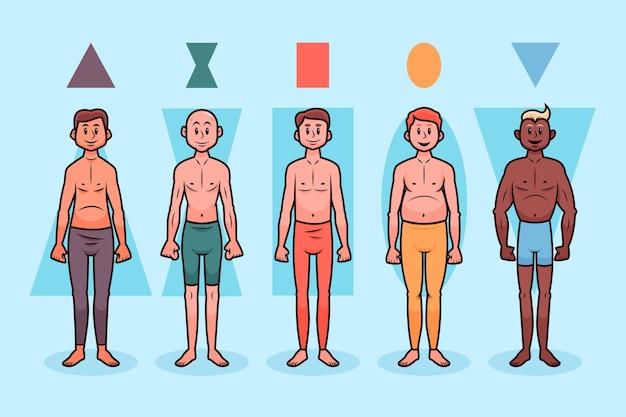 Paquete de tipos de dibujos animados de formas de cuerpo masculino