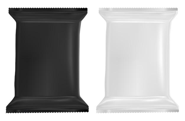 Paquete de toallitas húmedas maqueta de bolsita de plástico en blanco. diseño realista del paquete de toallitas para bebés bolsa de papel de aluminio para alimentos