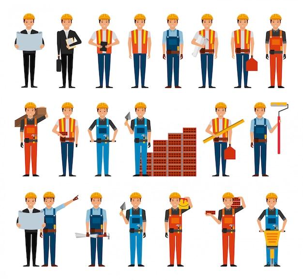 Paquete de trabajadores de la construcción y herramientas.