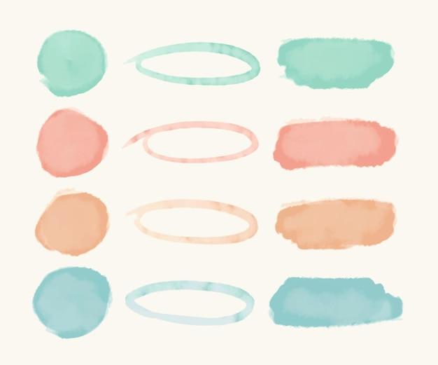 Paquete de trazos de acuarela abstracta