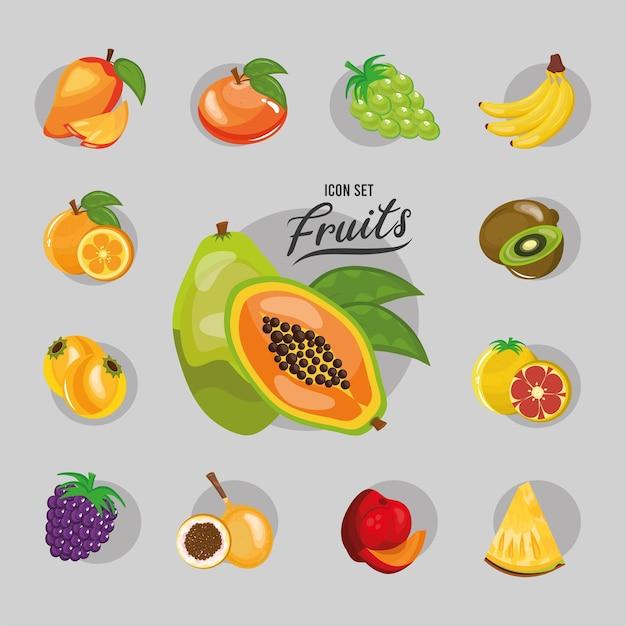 Paquete de trece frutas frescas establecer iconos y diseño de ilustración de letras