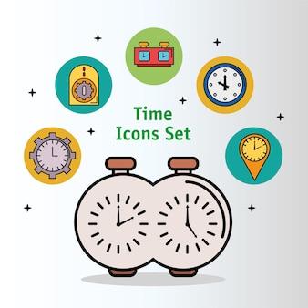 Paquete de trece iconos de estilo de línea y relleno de tiempo