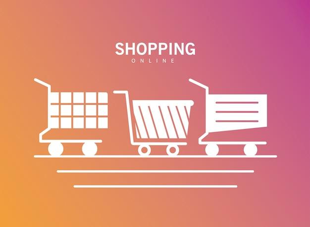 Paquete de tres carritos de compras, diseño de ilustración de iconos de estilo de línea