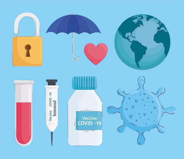 Paquete de vacuna contra el virus establece iconos ilustración