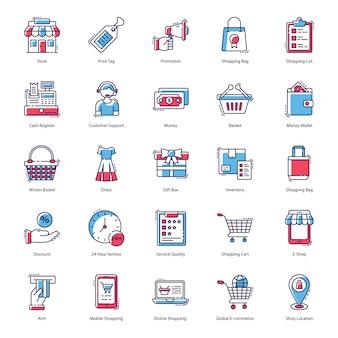Paquete de vectores de compras en línea
