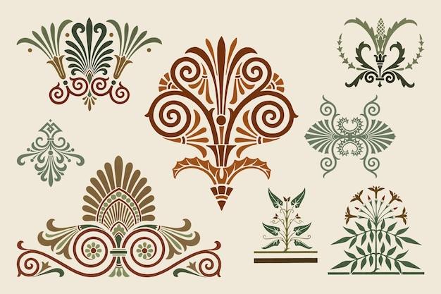 Paquete de vectores de elementos ornamentales griegos