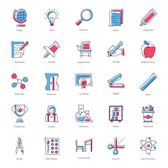 Paquete de vectores de iconos de herramientas de aprendizaje