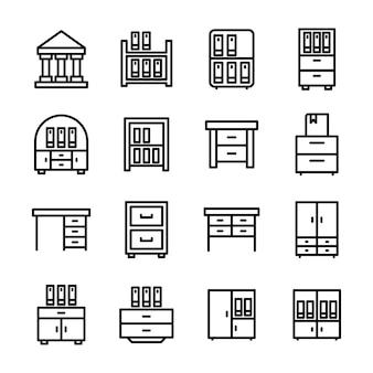 Paquete de vectores de línea de bastidores de libros