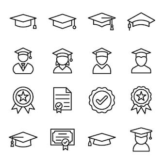 Paquete de vectores de línea de ceremonia de graduación