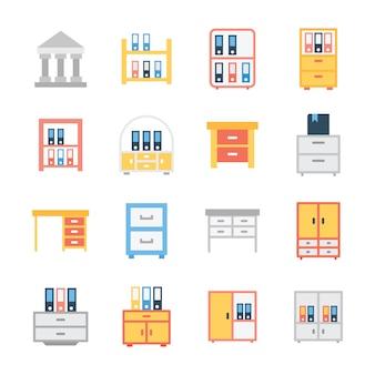 Paquete de vectores planos de bastidores de libros