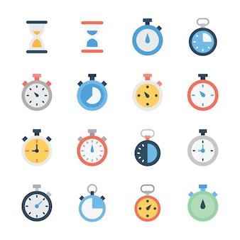 Paquete de vectores planos de reloj de arena y cronómetro