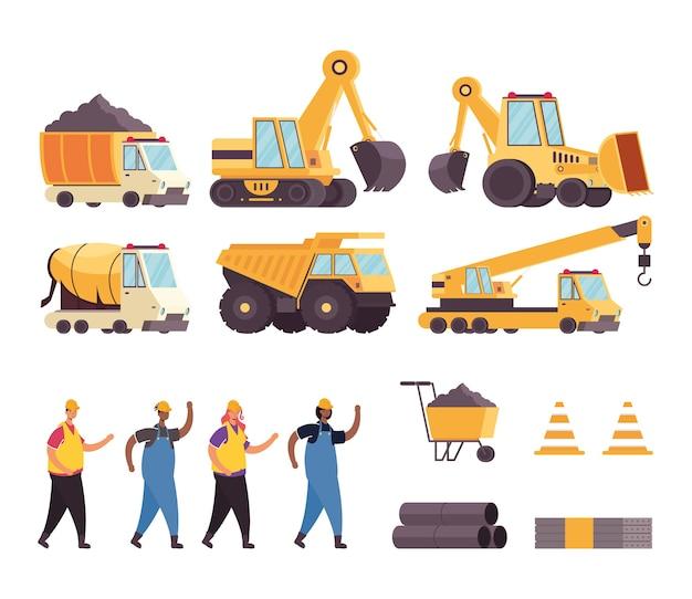 Paquete de vehículos de construcción y herramientas con trabajadores.