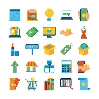 Paquete de veinticinco compras conjunto de iconos de colección, diseño de ilustraciones vectoriales