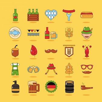 Paquete de veinticinco iconos de colección de conjunto de oktoberfest