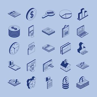 Paquete de veinticinco impuestos set iconos de colección