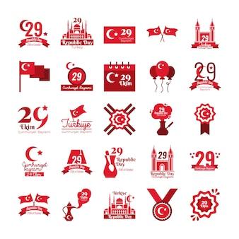 Paquete de veinticinco set cumhuriyet bayrami estilo plano diseño ilustración vectorial