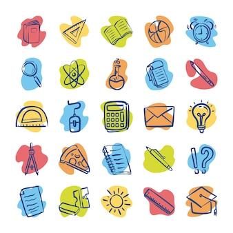 Paquete de veinticinco útiles escolares, diseño de ilustraciones vectoriales