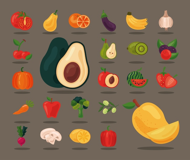 Paquete de veinticuatro frutas y verduras frescas alimentos saludables establecer iconos, diseño de ilustraciones