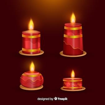 Paquete velas navidad realistas