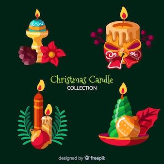 Paquete velas navideñas dibujadas a mano